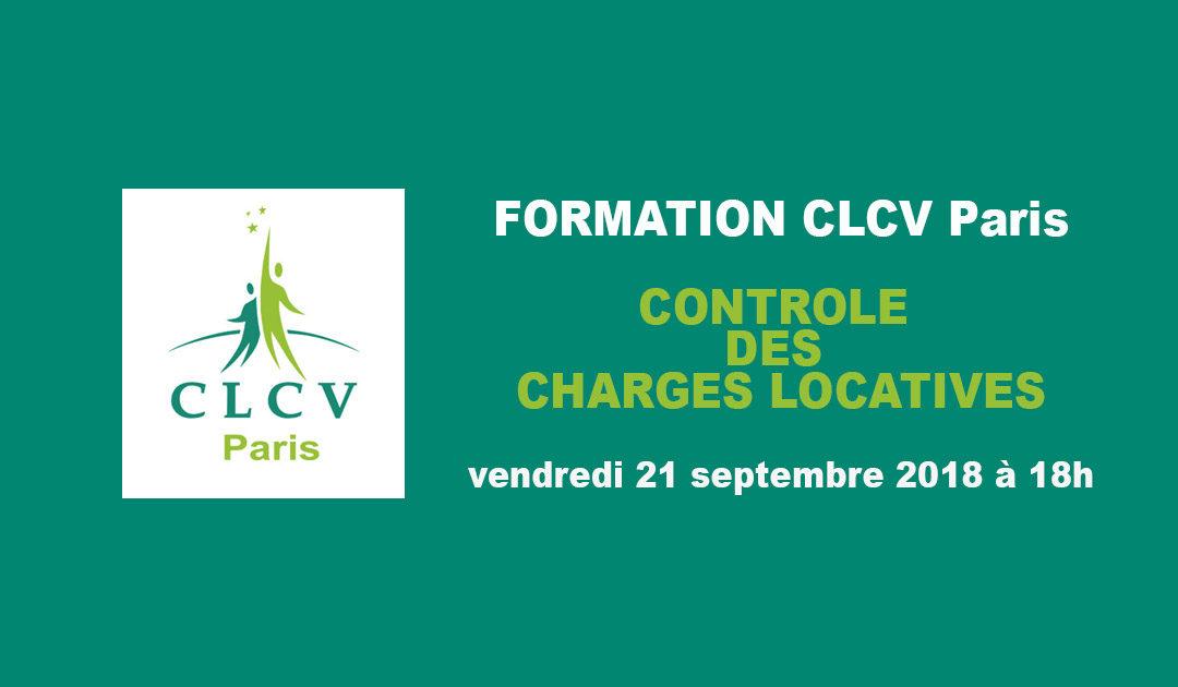 Formation CLCV Paris – Contrôle des charges locatives, module Perfectionnement :  vendredi 21 septembre 2018 à 18h