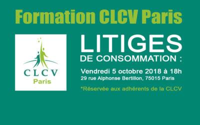 Formation CLCV Paris – Litiges de consommation: vendredi 5 octobre 2018 à 18h