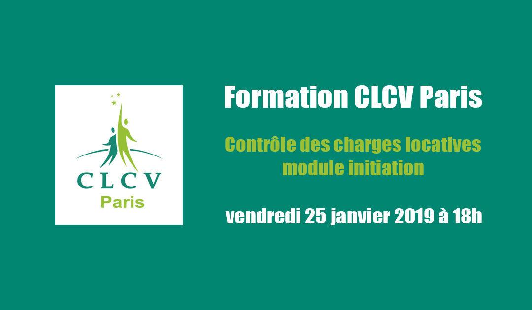 Formation CLCV Paris – Contrôle des charges locatives, module initiation : vendredi 25 janvier 2019 à 18h