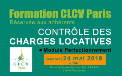 Formation CLCV Paris – Contrôle des charges locatives, module Perfectionnement :  Vendredi 24 mai 2019 à 18h