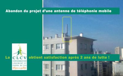 Abandon du projet d'une antenne de téléphonie mobile Free, 11 rue de l'Ourcq, la CLCV obtient satisfaction après 2 ans de lutte !