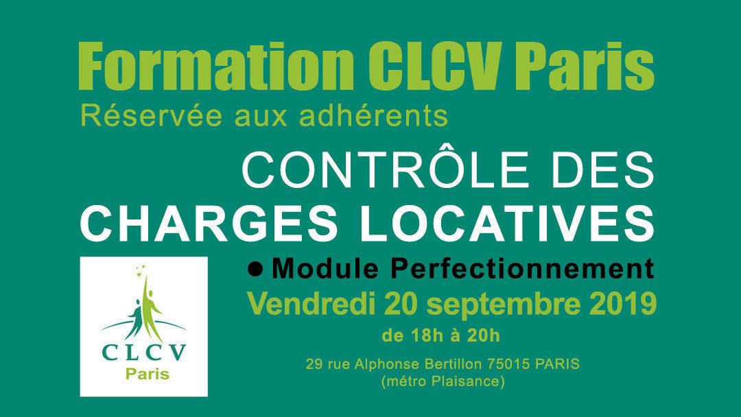 Formation CLCV Paris – Contrôle des charges locatives, module Perfectionnement : vendredi 20 septembre 2019 à 18h