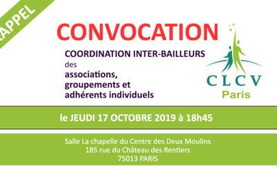 CONVOCATION (RAPPEL) – RÉUNION DE LA COORDINATION LOGEMENT INTER-BAILLEURS : le jeudi 17 octobre 2019 à 18h45