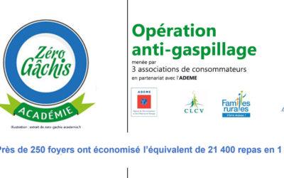 Communiqué de presse CLCV – Opération « Zéro Gâchis Académie » : près de 250 foyers ont économisé l'équivalent de 21 400 repas en 1 an