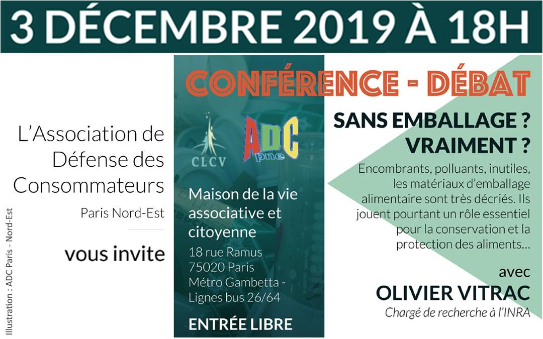 CONFÉRENCE – DÉBAT : Sans emballage ? vraiment ? L'ADC Paris Nord-Est vous invite – 3 décembre 2019 à 18h