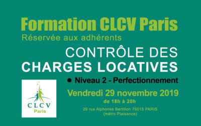 Formation CLCV Paris – Contrôle des charges locatives, module Perfectionnement : vendredi 29 novembre 2019 à 18h