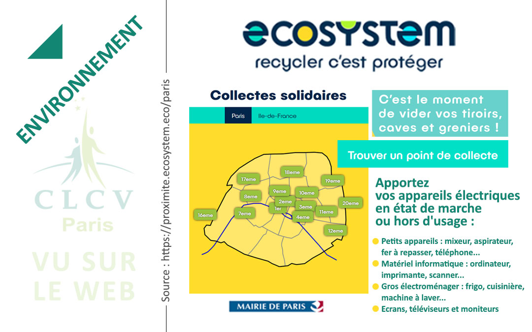 Collectes solidaires : trouver un point de collecte à Paris [CLCV Paris, VU SUR LE WEB]
