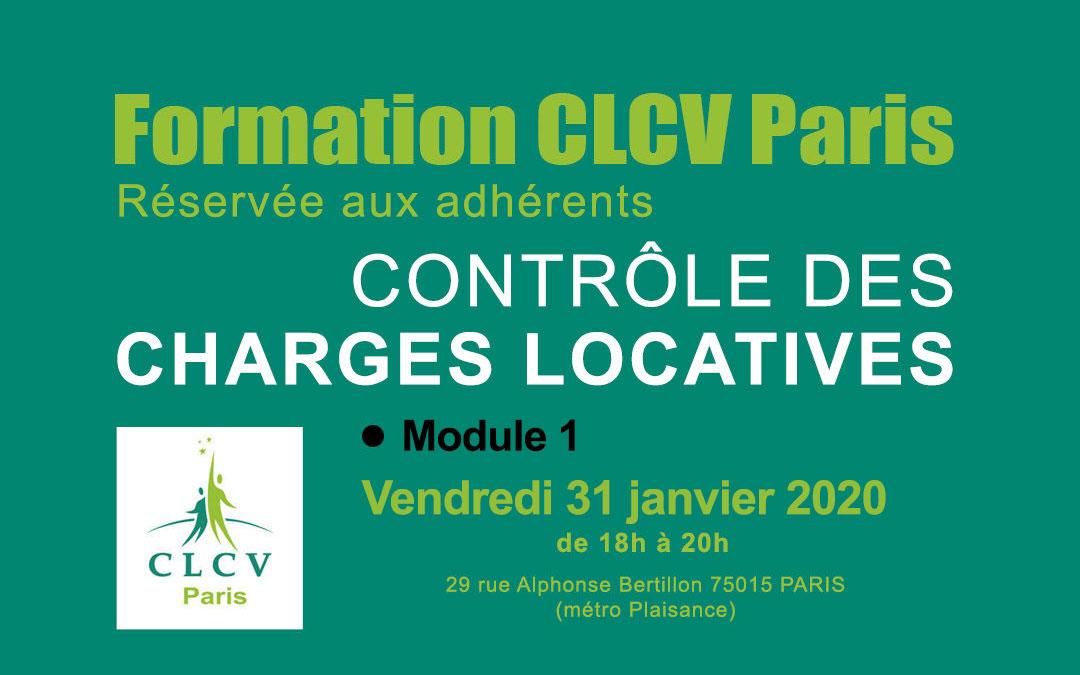 Formation CLCV Paris – Contrôle des charges locatives, Module 1 : Vendredi 31 janvier 2020 à 18h