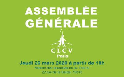 ASSEMBLÉE GÉNÉRALE DE LA CLCV PARIS – JEUDI 26 MARS 2020